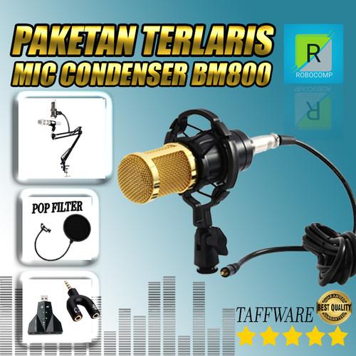 Foto Produk Paket recording smule mic condenser BM800 Original TAFFWARE Full Set - Gold dari ROBOCOMP
