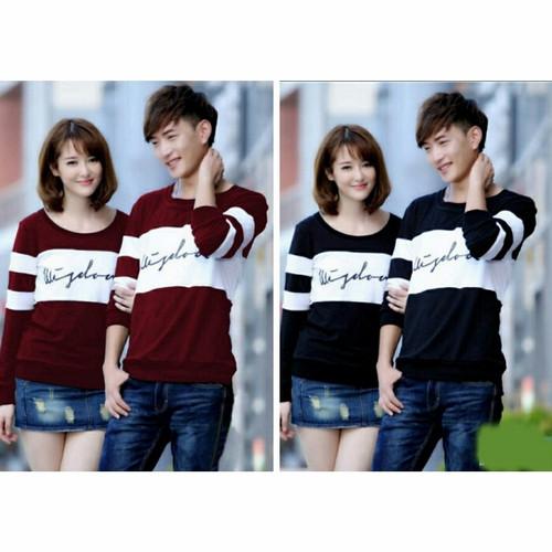 Foto Produk Kaos couple lengan panjang wisdom hitam putih - baju pasangan dari Grosir Baju Couple :)