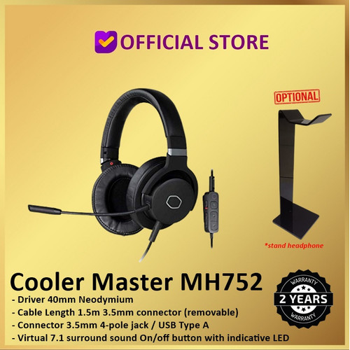 Foto Produk Cooler Master MH-752 Gaming Headset MH752 Virtual 7.1 Surround Sound - MH752 Only dari DUNIA COMPUTER & SERVICE
