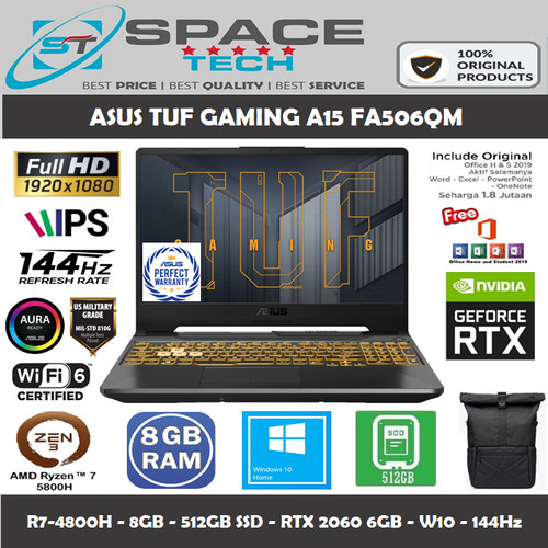 Foto Produk ASUS TUF GAMING A15 FA506QM RYZEN 7-5800H 8GB 512SSD RTX3060 6GB WIN10 - R736B6G-O-GREY dari Space Tech