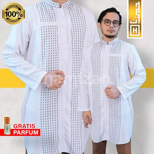 Foto Produk PREMIUM Pakaian Muslim Baju Koko Pakistan Kurta India Gamis Pria Putih - M dari Hamizan Moslem Store