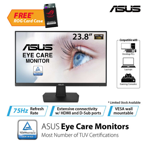 "Foto Produk ASUS VA24EHE Eye Care Monitor 23.8"" Full HD, IPS, Frameless, 75Hz dari Asus Component"