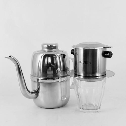 Foto Produk Paket Liguria Vietnam Drip Coffee Maker + Kettle + Gelas Duralex dari Kopi Jayakarta