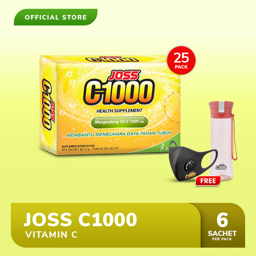 Foto Produk Joss C1000 Vitamin C 25 Pack FREE Tumblr LocknLock (Merah) + Masker dari Bintang Toedjoe Official