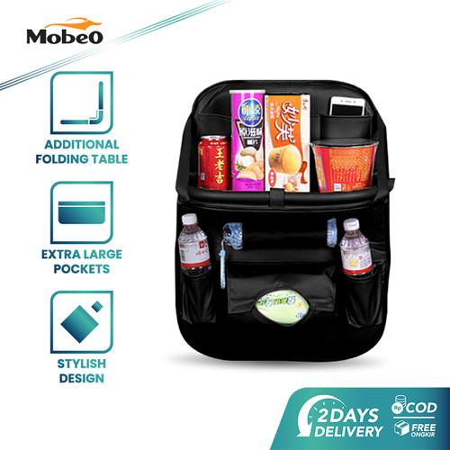Foto Produk Mobeo Car Seat Organizer / Tas Jok PU Leather Meja Lipat (Size A) - Hitam dari Mobeo Official Store
