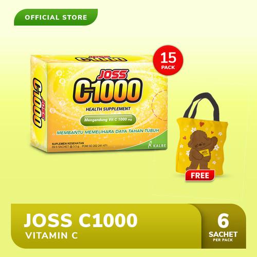Foto Produk Joss C1000 Vitamin C 15 Pack (90 sachet) FREE Tote Bag Kellys dari Bintang Toedjoe Official