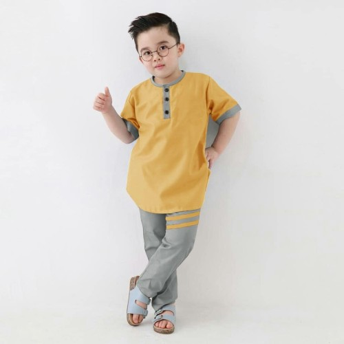 Foto Produk setelan Koko Finoi - Baju Anak - setelan Muslim Anak Laki-Laki Terbaru - FINOI MUSTARD dari Sun Oshop
