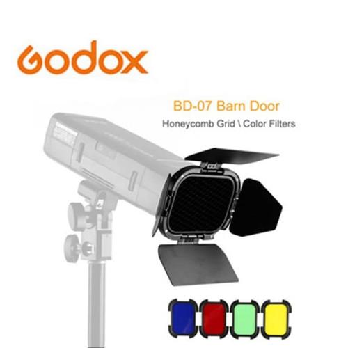 Foto Produk Godox BD-07 Barn Doors + Honeycomb Grid + 4 Color Gels Filters dari Storepediaaa