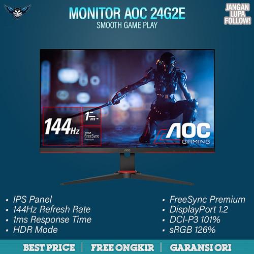 "Foto Produk AOC 24G2E IPS 144Hz 1ms HDR FREESYNC FRAMELESS LED GAMING MONITOR 24"" dari YOUNGS COMPUTER"