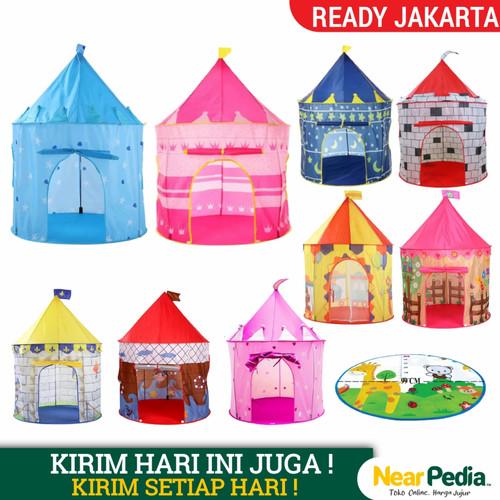 Foto Produk Tenda Anak Castle Jumbo Size 135x85x105 CM MA01 - Biru Bintang dari Near Pedia