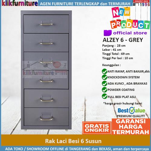 Foto Produk Lemari Besi Lemari Kantor Portable 6 Laci ALZEY SAPPORO - GREY dari klikfurniture