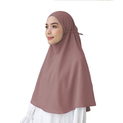 Foto Produk Bergo Tali Maula Hijab Jilbab Kerudung Khimar Instan Tali Tanpa Pet - Brown dari Hijab Maula