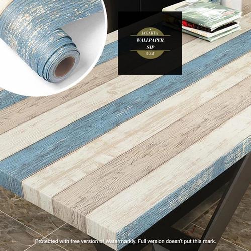 Foto Produk wallpaper stiker dinding kayu 3 warna biru pekat dari wallpaper_sip