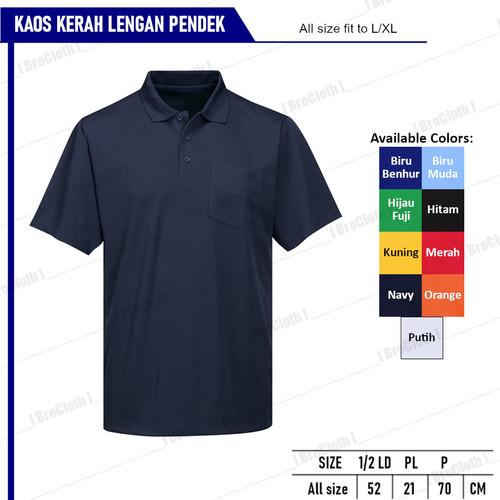 Foto Produk Kaos Kerah Polos Baju Pria Krah Lengan Pendek Unisex - Navy, all size dari BroCloth