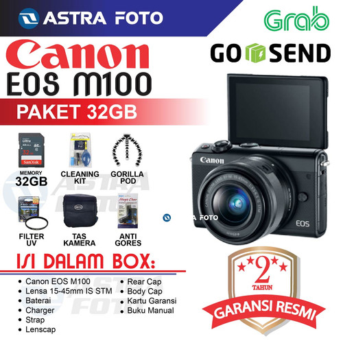 Foto Produk CANON EOS M100/CANON M100 Kit 15-45mm Paket 16gb DAHSYAT !! - Hitam, Unit Only dari Astra Foto
