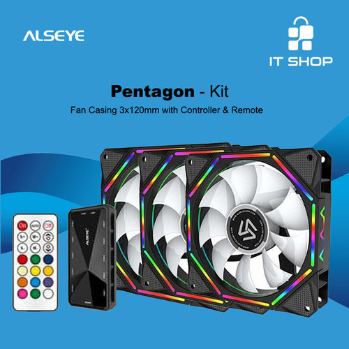Foto Produk Alseye 3X Fan Pentagon EL-120 A-RGB Kit Controller dari IT-SHOP-ONLINE