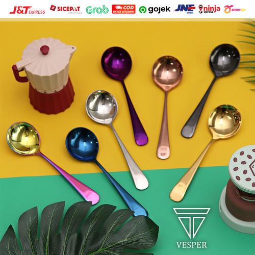 Foto Produk Cupping spoon coffee / sendok kopi bulat / sendok teh stainless SS304 - silver dari vesper