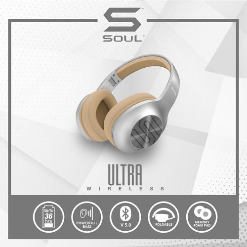 Foto Produk Soul Ultra Wireless Headphone Bass Over Ear Bluetooth High Definition - Abu-abu dari Soul official