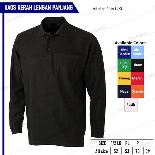 Foto Produk Kaos Polo Shirt Lengan Panjang T Shirt Polo Kaos Berkerah Kaos T Shirt - Hitam, all size dari BroCloth