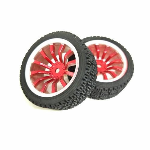 Foto Produk Roda Robot Smart Car 67mm Red RC Whell Velg Ban Karet Radial dari RAJACELL BEKASI