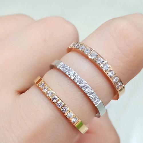 Foto Produk Cincin Titanium Steel Wanita Gaya Korea Eight Planting Diamond Zircon - Rose Gold, 8 dari ShaColl