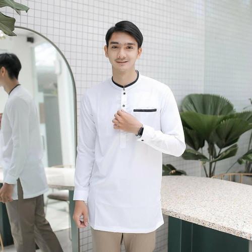 Foto Produk BAJU KOKO KURTA PAKISTAN LENGAN PANJANG - Putih, M dari winarti_shop