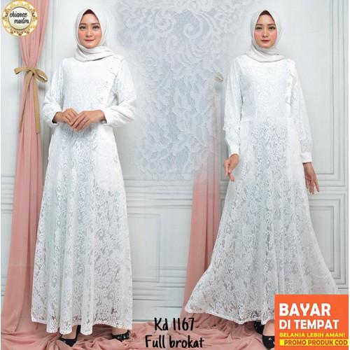 Foto Produk Baju Gamis Putih/Busana Muslim Lebaran Haji/Baju Muslim Wanita #877STD - M dari chianoz