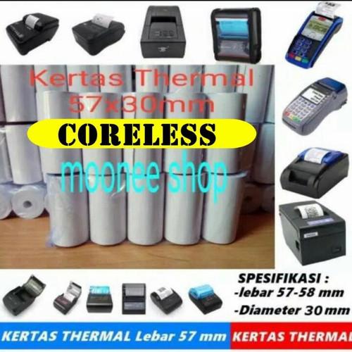 Foto Produk Kertas Thermal 57 x 30 / 57x30 / 58 x 30 / 58x30 mm Polos per 1 Hitam dari Moonee Shop