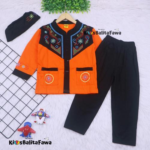 Foto Produk Baju Koko Anak uk. 5-6 th / Muslim Setelan Laki Pendek Celana Panjang - Orange dari Kios Balita Fawa