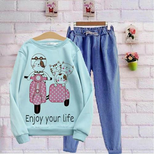 Foto Produk Baju Setelan Sweater Kaos Wanita Lucu Karakter Anak Remaja Perempuan - Biru dari Khasanahgallery