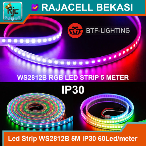 Foto Produk LED Strip RGB WS2812B Neopixel 5M 60Led/meter IP30 Non Waterproof dari RAJACELL BEKASI