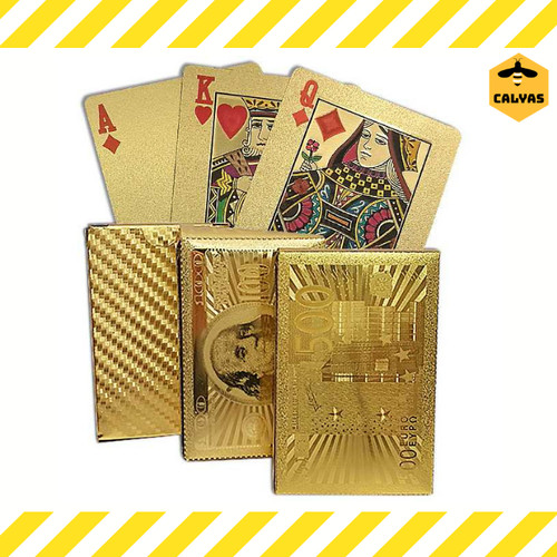 Foto Produk Kartu Poker Remi Plastik Waterproof Balck Diamond & Gold - Gold dari Calyas