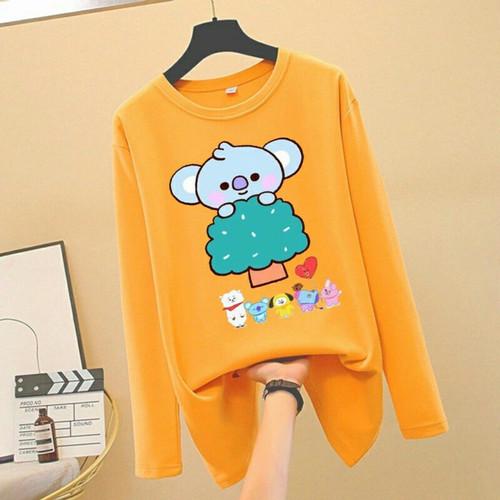 Foto Produk Baju Atasan Kaos Lengan Panjang Wanita Remaja BTS Korean Style Adem - Kuning dari Khasanahgallery