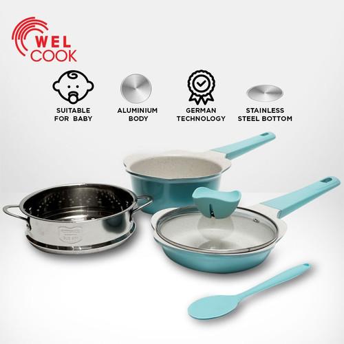 Foto Produk Welcook Peralatan Panci Bayi Baby Cookware - Light Blue dari Welcook Cookware