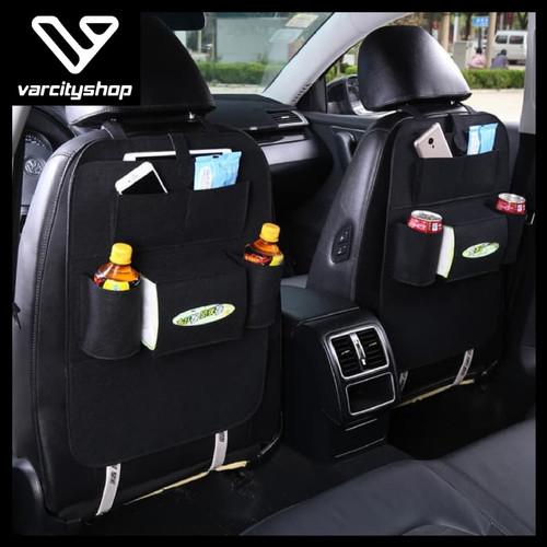 Foto Produk Car Seat Organizer CN Tas Mobil Belakang Jok Tempat Minum Tissue - Hitam dari varcityshop