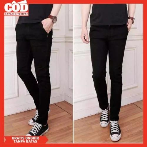 Foto Produk Celana Jeans Slim fit Hitam Pria / Celana Pensil / Jeans Skinny cowok - 32 dari Shiver Workout
