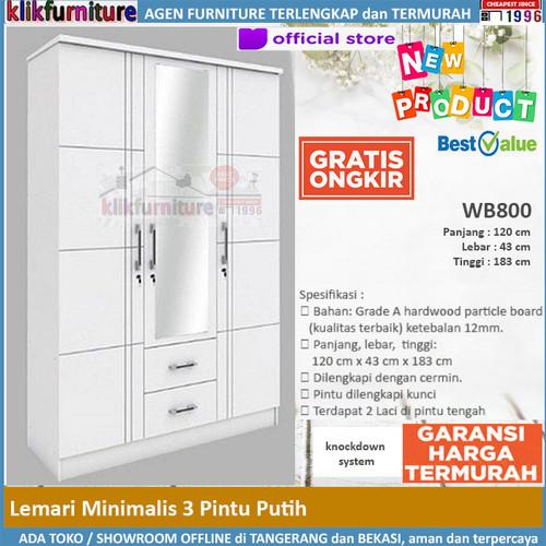 Foto Produk Lemari Pakaian Putih 3 Pintu 2 Laci Minimalis WB800 dari klikfurniture