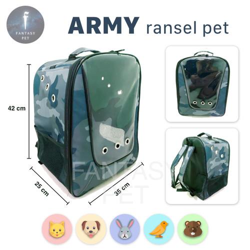 Foto Produk PET CARGO TAS HEWAN model ransel besar travel pet bag PET CARRIER - ARMY dari Fantasy Pet