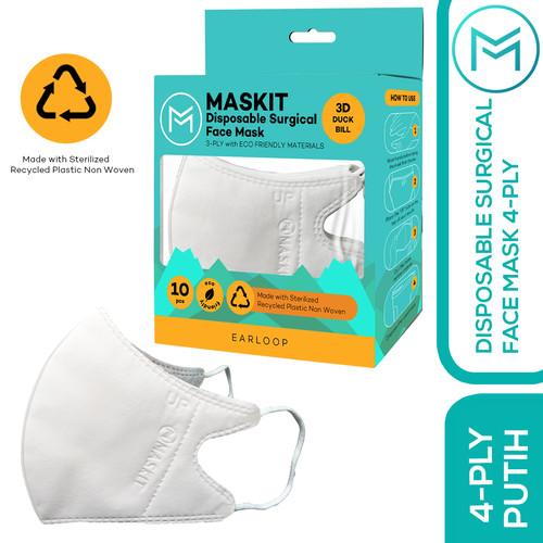 Foto Produk Masker 4ply Duckbill Warna - Maskit Ramah Lingkungan Earloop & Hijab - Putih, Earloop dari Maskit Store