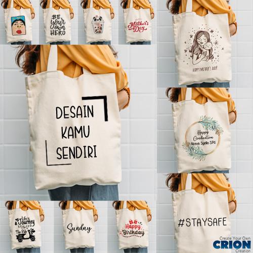 Foto Produk Totebag Blacu Printing - Bisa Custom Logo Sendiri- Souvenir - By Crion dari Crion