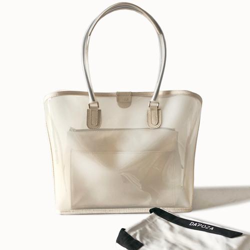 Foto Produk Dapoza Visi Bag Creme Set Canvas Tas Tote PVC Transparan Wanita dari DA'POZA