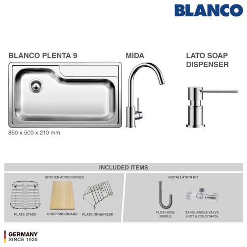 Foto Produk BLANCO Plenta 9 Stainless Steel Sink + Kran BLANCO MIDA Chrome dari BLANCO Official Store