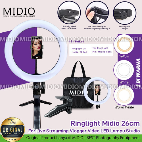 Foto Produk RingLight 26 Midio For Live Streaming Vlogger Video LED Lampu Studio - RL26 dari Midio