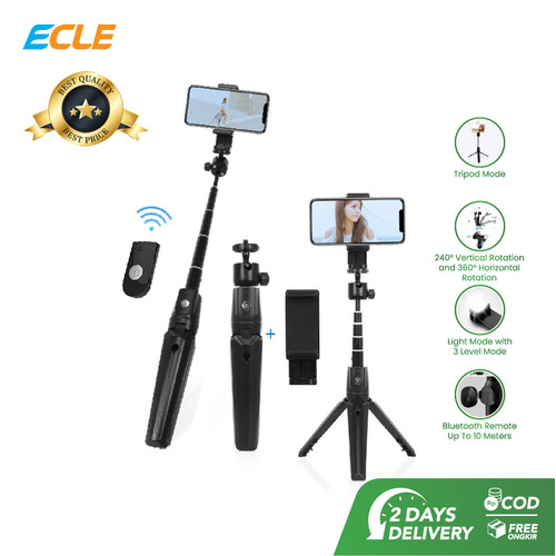 Foto Produk ECLE Bluetooth Selfie Stick Tongsis / Tripod / Tomsis Wireless Remote dari ECLE Official Store