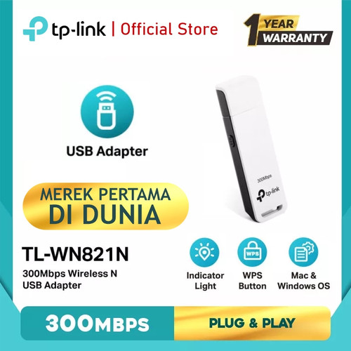 Foto Produk TP-LINK TL-WN821N 300Mbps Wireless N USB Adapter - White dari TP-Link Official