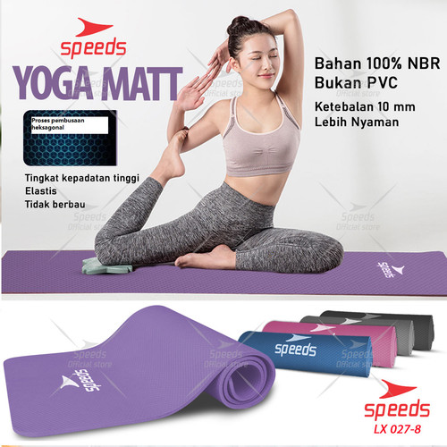 Foto Produk Matras Yoga Mat Karpet Spons Tikar Speeds NBR 183 x 61CM 10MM 027-04 - Biru Motif dari Speeds Official Store
