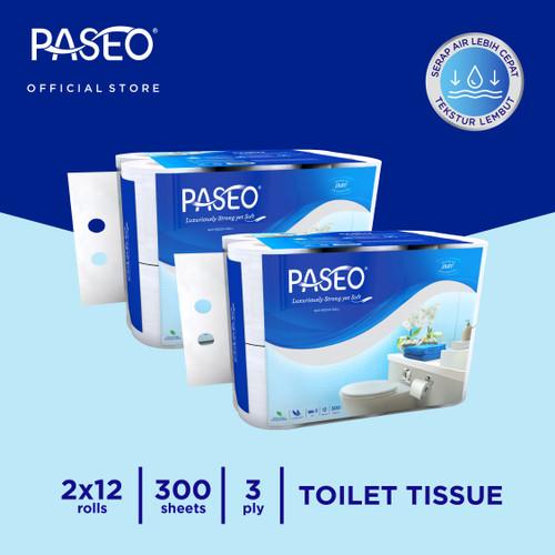 Foto Produk Paseo Elegant Tissue Toilet Roll Core Non Emboss 300's 12 Roll x 2 Pcs dari Paseo Tissue Official