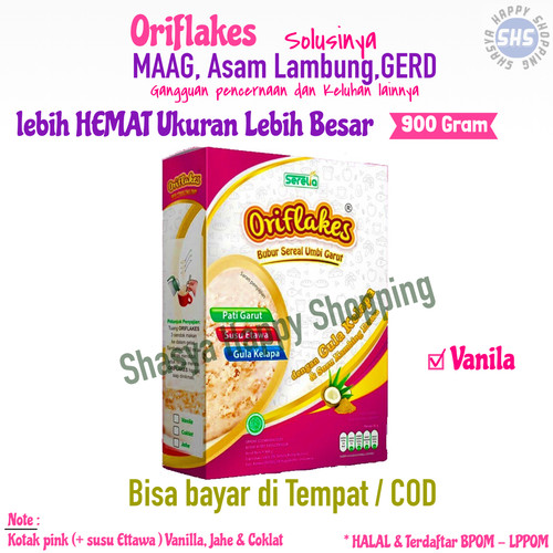 Foto Produk Oriflakes sereal Umbi Garut Gastro 900ml meredakan asam lambung maag - Vanila dari Shasya Happy Shopping