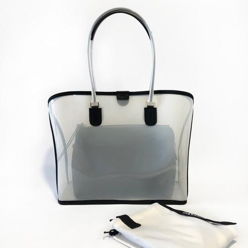 Foto Produk Dapoza Visi Bag Latte Nylon Leather Tote Transparan / Tas kulit wanita dari DA'POZA