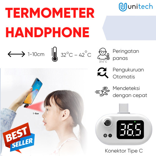 Foto Produk Termometer HP Mobile Smartphone Android Type C Infrared Thermometer dari TokoUsbcom